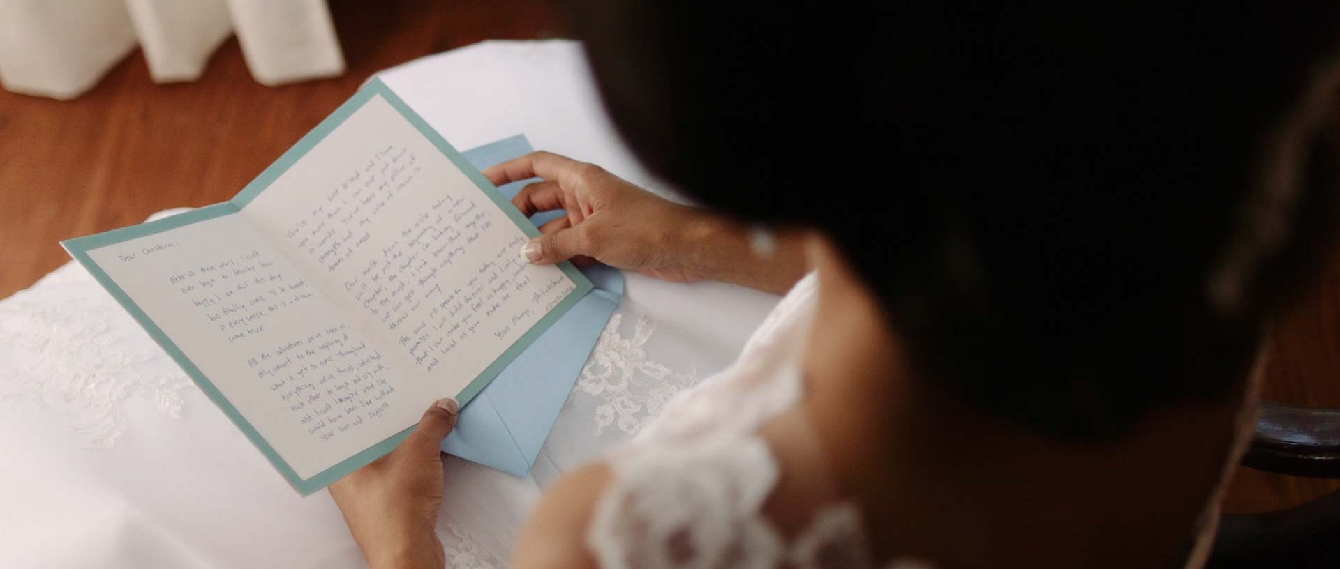 Bride Reading Card for Wedding Video